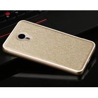 Двухкомпонентный чехол с металлическим бампером и поликарбонатной накладкой текстура Золото для Meizu MX5