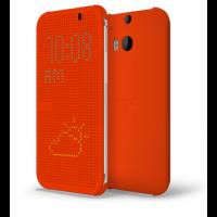 Точечный чехол смарт флип с функциями оповещения для HTC One M8 Оранжевый