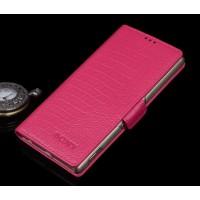 Кожаный чехол портмоне (нат. кожа крокодила) для Sony Xperia C5 Ultra Пурпурный