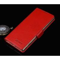 Кожаный чехол портмоне (нат. кожа) для Sony Xperia C5 Ultra Красный