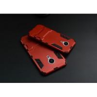 Антиударный гибридный силиконовый чехол с поликарбонатной крышкой и встроенной ножкой-подставкой для Meizu MX5 Красный