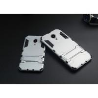 Антиударный гибридный силиконовый чехол с поликарбонатной крышкой и встроенной ножкой-подставкой для Meizu MX5 Белый