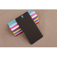 Пластиковый матовый непрозрачный чехол для Sony Xperia C5 Ultra Черный