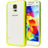 Двухкомпонентный гибридный чехол с силиконовым бампером и транспарентной матовой накладкой для Samsung Galaxy S5 Зеленый