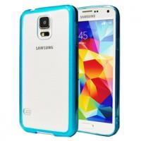 Двухкомпонентный гибридный чехол с силиконовым бампером и транспарентной матовой накладкой для Samsung Galaxy S5 Голубой