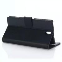 Чехол портмоне подставка с защелкой на пластиковой основе для Sony Xperia C5 Ultra Dual Черный