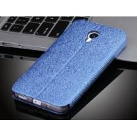 Текстурный узорный чехол флип подставка на силиконовой основе для Meizu MX5 Синий
