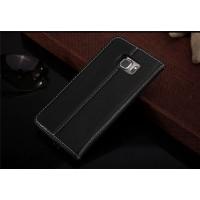 Кожаный прошитый чехол флип с отделением для карт для Samsung Galaxy S6 Edge Plus Черный