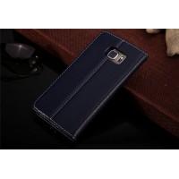 Кожаный прошитый чехол флип с отделением для карт для Samsung Galaxy S6 Edge Plus Синий
