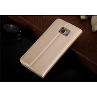 Кожаный прошитый чехол флип с отделением для карт для Samsung Galaxy S6 Edge Plus Бежевый