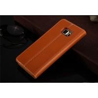 Кожаный прошитый чехол флип с отделением для карт для Samsung Galaxy S6 Edge Plus Коричневый