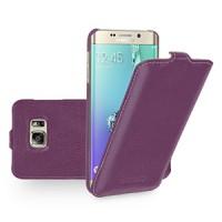 Кожаный чехол вертикальная книжка (нат. кожа) для Samsung Galaxy S6 Edge Plus Фиолетовый