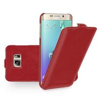 Кожаный чехол вертикальная книжка (нат. кожа) для Samsung Galaxy S6 Edge Plus Красный
