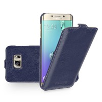 Кожаный чехол вертикальная книжка (нат. кожа) для Samsung Galaxy S6 Edge Plus Синий