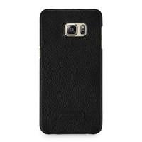 Кожаный чехол накладка (нат. кожа) серия Back Cover для Samsung Galaxy S6 Edge Plus Черный