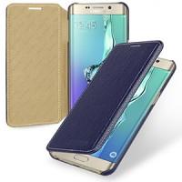 Кожаный чехол горизонтальная книжка (нат. кожа) для Samsung Galaxy S6 Edge Plus Синий