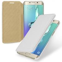 Кожаный чехол горизонтальная книжка (нат. кожа) для Samsung Galaxy S6 Edge Plus Белый