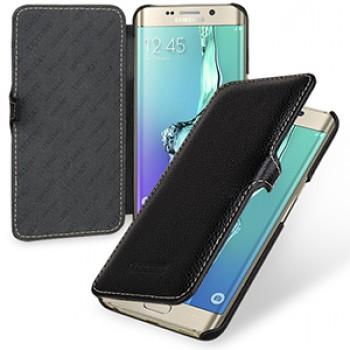 Кожаный чехол горизонтальная книжка (нат. кожа) с крепежной застежкой для Samsung Galaxy S6 Edge Plus