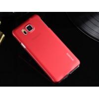 Пластиковый матовый металлик чехол для Samsung Galaxy Alpha Красный