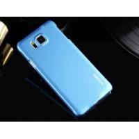 Пластиковый матовый металлик чехол для Samsung Galaxy Alpha Голубой