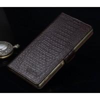 Кожаный чехол портмоне (нат. кожа крокодила) для Sony Xperia M5 Коричневый