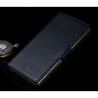 Кожаный чехол горизонтальная книжка (нат. кожа) с крепежной застежкой для Sony Xperia M5 Черный