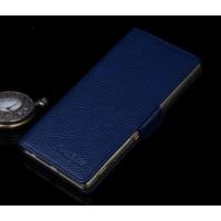 Кожаный чехол горизонтальная книжка (нат. кожа) с крепежной застежкой для Sony Xperia M5 Синий