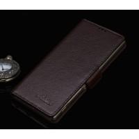 Кожаный чехол горизонтальная книжка (нат. кожа) с крепежной застежкой для Sony Xperia M5 Коричневый