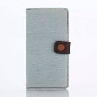 Чехол портмоне подставка текстура Джинс на пластиковой основе с магнитной защелкой для Sony Xperia M5 Белый