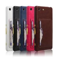 Кожаный чехол накладка с подставкой и отделением для карт для Sony Xperia M5