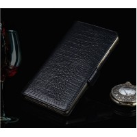 Кожаный чехол портмоне (нат. кожа крокодила) с застёжкой для Philips Xenuim V526 Черный