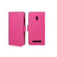 Чехол горизонтальная книжка с крепежной застежкой и отделение для карт для ASUS Zenfone Go Розовый