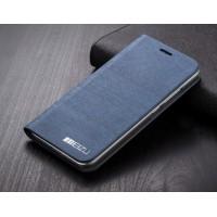 Текстурный чехол флип подставка на пластиковой основе с внутренним карманом для Meizu MX5 Синий