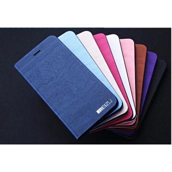 Текстурный чехол флип подставка на пластиковой основе с внутренним карманом для Meizu MX5