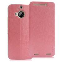 Текстурный чехол флип подставка на присоске для HTC One M9+ Розовый
