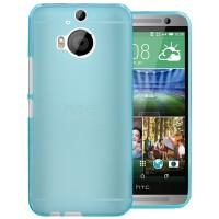 Силиконовый матовый полупрозрачный чехол для HTC One M9+ Синий