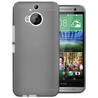 Силиконовый матовый полупрозрачный чехол для HTC One M9+ Черный