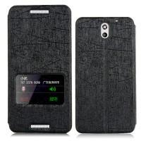 Текстурный чехол с активным окном для HTC Desire 610 Черный