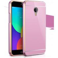 Двухкомпонентный чехол с металлическим двухцветным бампером и поликарбонатной накладкой для Meizu M1 Note Розовый