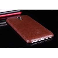Чехол из жесткого силикона с кожаным покрытием для Meizu M1 Note Коричневый