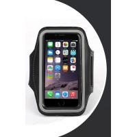 Спортивный фиксирующий прорезиненный водостойкий наручный держатель для гаджета (до 4 дюймов) с активной защитной пленкой, отверстием для наушников и карманом для ключа для BlackBerry Q10