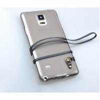 Силиконовый матовый полупрозрачный чехол с кожаным ремешком для Samsung Galaxy Note 4