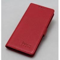 Кожаный чехол горизонтальная книжка (нат. кожа) с крепежной застежкой для HTC Butterfly S Красный