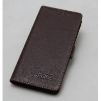 Кожаный чехол горизонтальная книжка (нат. кожа) с крепежной застежкой для HTC Butterfly S Коричневый