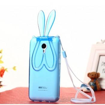 Силиконовый дизайнерский фигурный чехол Заяц со складными ушами для Meizu M1