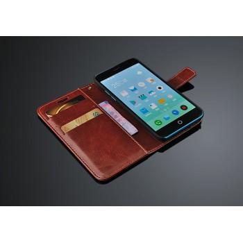 Чехол портмоне подставка на пластиковой основе с крепежной застежкой для Meizu M1
