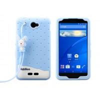 Силиконовый антиударный дизайнерский фигурный чехо для Sony Xperia E4 Голубой