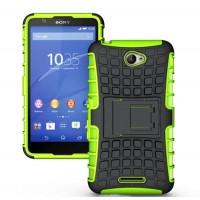 Антиударный пластиковый чехол экстрим защита с подставкой для Sony Xperia E4 Зеленый