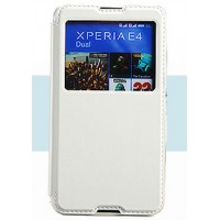 Чехол флип подставка на силиконовой основе с окном вызова для Sony Xperia E4 Белый
