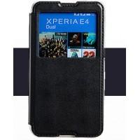 Чехол флип подставка на силиконовой основе с окном вызова для Sony Xperia E4 Черный